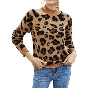 Love by Design Leopard Knit Ripped Sweater Medium